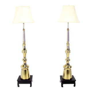 Pair of Large Mid-Century Modern Metal Finial-Shape Floor Lamps on Stands For Sale