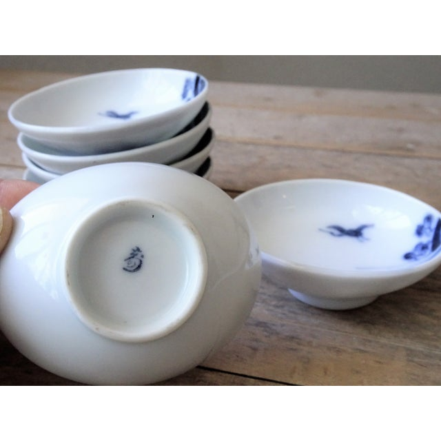 1940s Vintage Japanese Blue and White Small Dishes - Set of 6 For Sale - Image 5 of 13