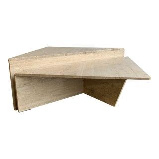 Postmodern 2-Piece Tiered Triangle Italian Travertine Coffee Table For Sale