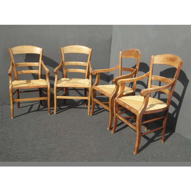320993468ead French Country Vintage French Country Rush Seat Mahogany Dining Chairs - Set  of 4 W Rush