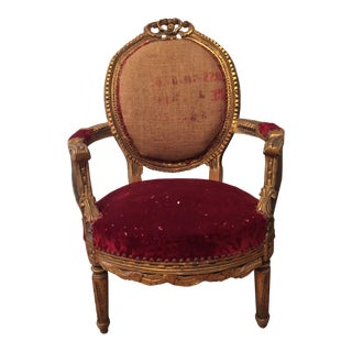 Late 19th Century Antique French Gilded Chair For Sale