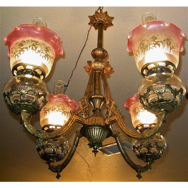 19c Pair of Bradley and Hubbard Gold Leaf 4 Arm Chandeliers - Image 4 of 13