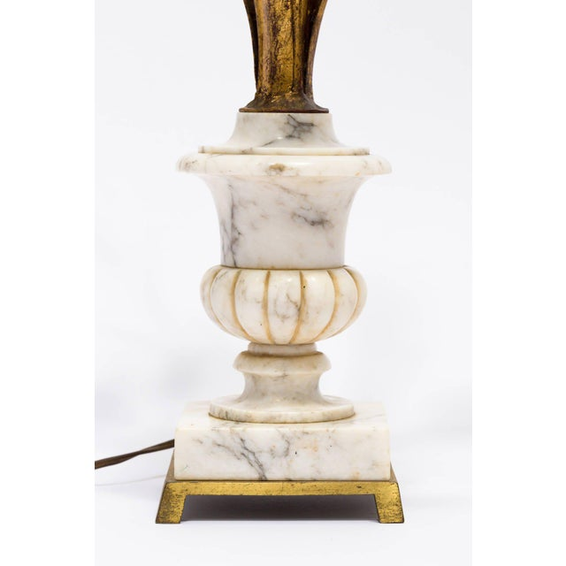 White Pair of Italian Marble Urn and Gilded Metal Floral Lamps For Sale - Image 8 of 11
