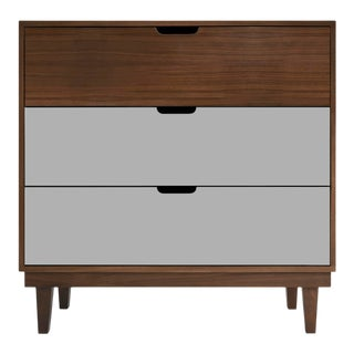 Nico & Yeye Kabano Modern Kids 3 Drawer Dresser Walnut Gray For Sale
