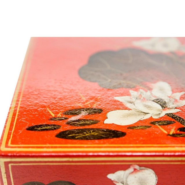 Animal Skin Asian Modern Lawrence & Scott Hand-Painted Water Buffalo Leather Box on Hongmu Stand For Sale - Image 7 of 9