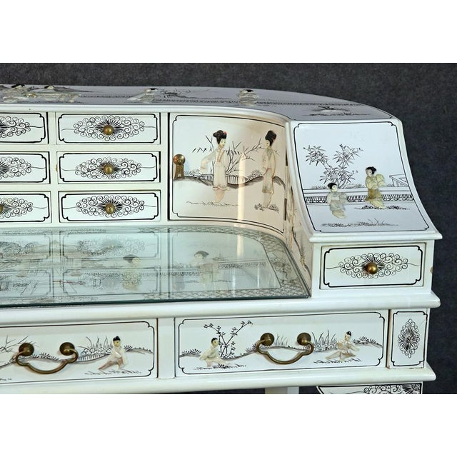 Asian White Chinoiserie Carlton House Desk For Sale - Image 3 of 13