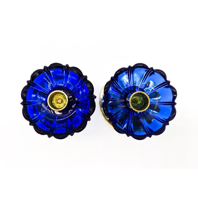 1950s Mid-Century Swedish Gunnar Ander for Ystad-Metall Cobalt Blue Glass Flower & Brass Candleholders - a Pair For Sale - Image 9 of 12