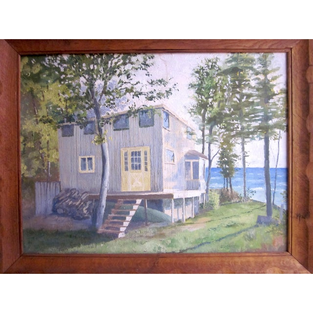 Canvas 1971 Vintage Rural Cottage Scene Signed Acrylic on Canvas Painting For Sale - Image 7 of 10
