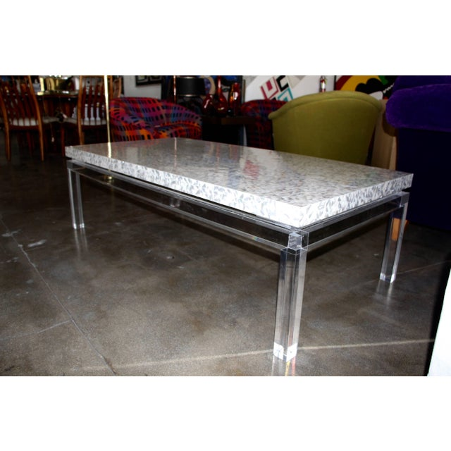 Plastic Phyllis Morris Custom Lucite and Mother of Pearl Coffee Table Signed For Sale - Image 7 of 11