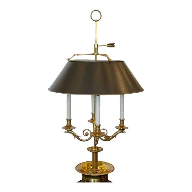 Large Paul Ferrante French Gilt Bronze Four Light Bouillotte Griffin Table Lamp For Sale