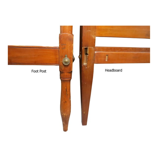 Antique Early American Federal Style Pencil Post Twin Size Half Tester Beds - a Pair For Sale - Image 11 of 12