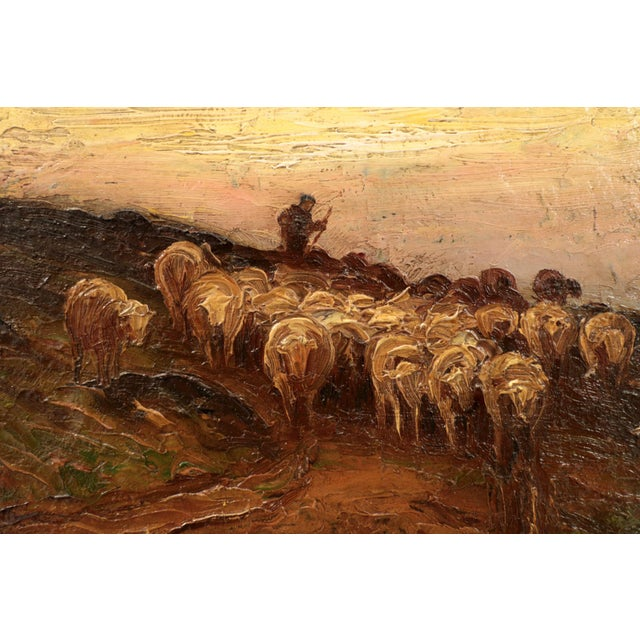 Impressionism American Barbizon Painting of Sheep at Evening by Francis Wheaton For Sale - Image 3 of 11