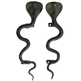 Large Green Brass Cobra Door Handles - A Pair For Sale