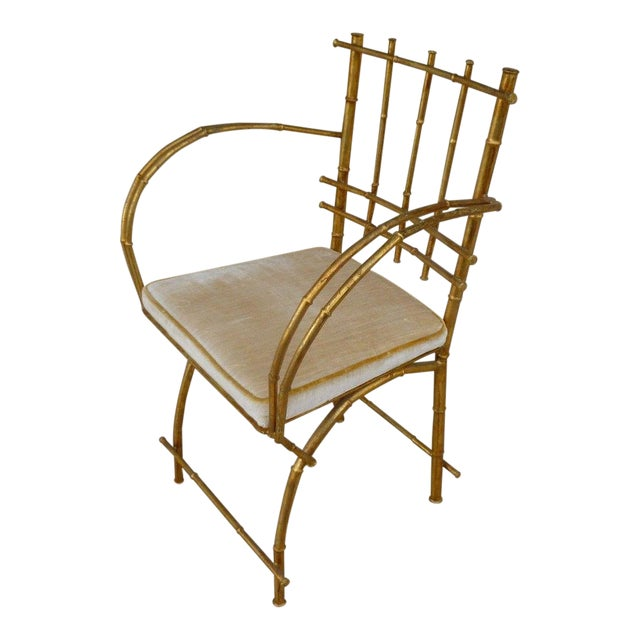 1960s Vintage Italian Hollywood Regency Style Faux Bamboo Armchair For Sale
