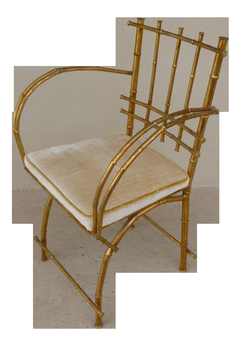 1960s Vintage Italian Hollywood Regency Style Faux Bamboo Armchair
