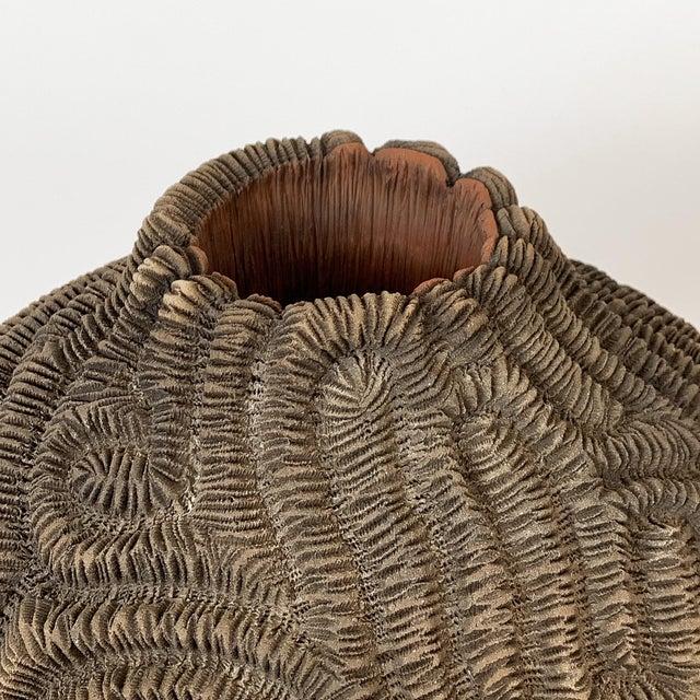 Textured Studio Pottery Terracotta Vase For Sale - Image 9 of 13