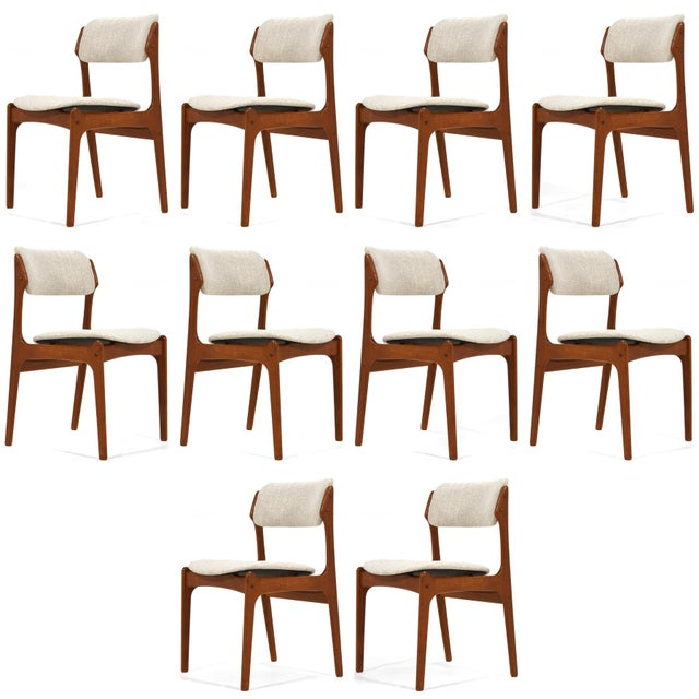 """White Erik Buch """"Model 49"""" Teak Dining Chairs Set of Ten For Sale - Image 8 of 8"""