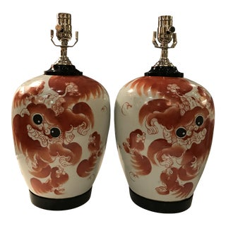 Chinese Dragon Ginger Jar Table Lamps - A Pair For Sale