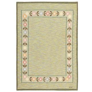Vintage Swedish Green Wool Kilim Rug - 5′5″ × 8′ For Sale