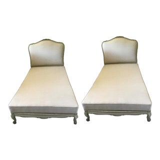 Antique Painted Wood Frame Twin Beds Upholstered in Belgian Linen - a Pair For Sale