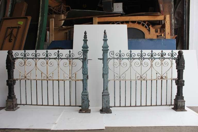 Custom Made Antique Wrought Iron Decorative Fence With Cast Iron Posts More Available In Different