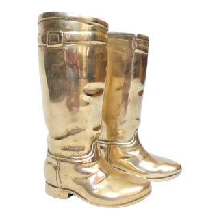 1980's Ralph Lauren Brass Riding Boot Bookends For Sale