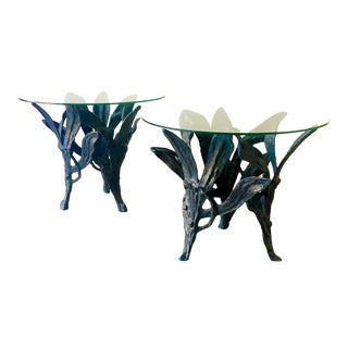 Large Pair of Patinated Aluminium Side Tables 1960s For Sale