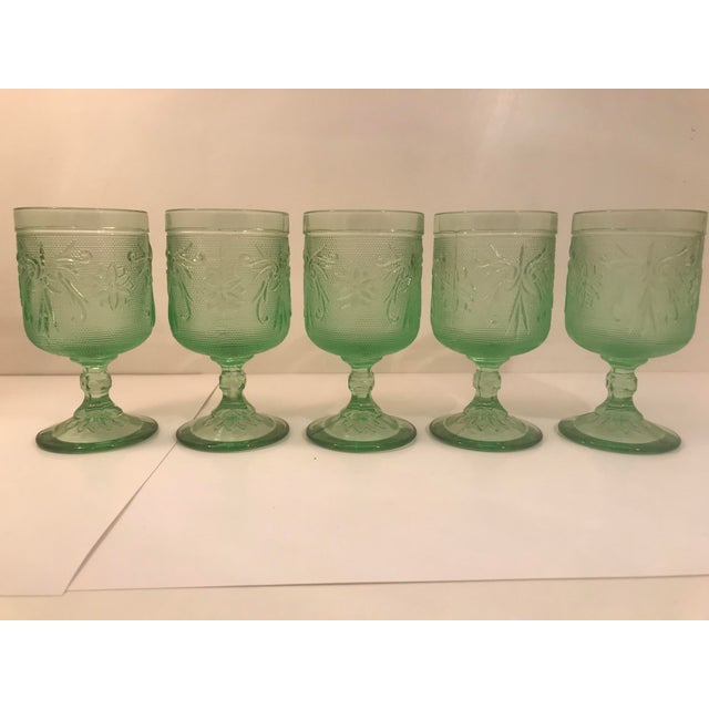 1970s Rare Mint Green Tiara Glass Wine Goblets - Set of 5 For Sale - Image 5 of 5