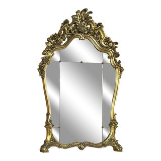 Antique Grand Italian Giltwood Rococo Mirror For Sale