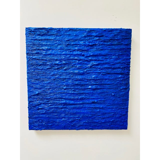 """Cobalt Blue Acrylic Mixed Media Panting, """"Dive In"""" For Sale - Image 4 of 5"""