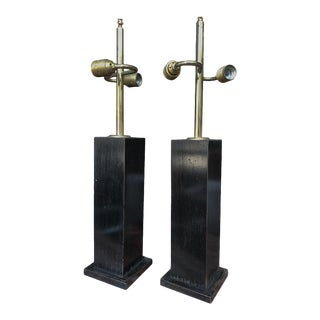 Mid-Century Ebonized Wood Table Lamps - a Pair For Sale
