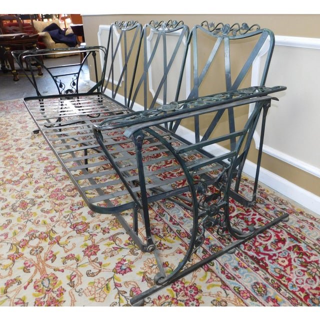 Metal Vintage Lee Woodard & Sons Wrought Iron Glider Sofa For Sale - Image 7 of 11