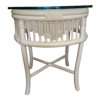Ficks Reed Style Round Bamboo Rattan Wicker Table For Sale