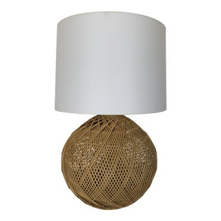 Vintage Boho Chic Bulbous Wicker Lamp with Shade For Sale