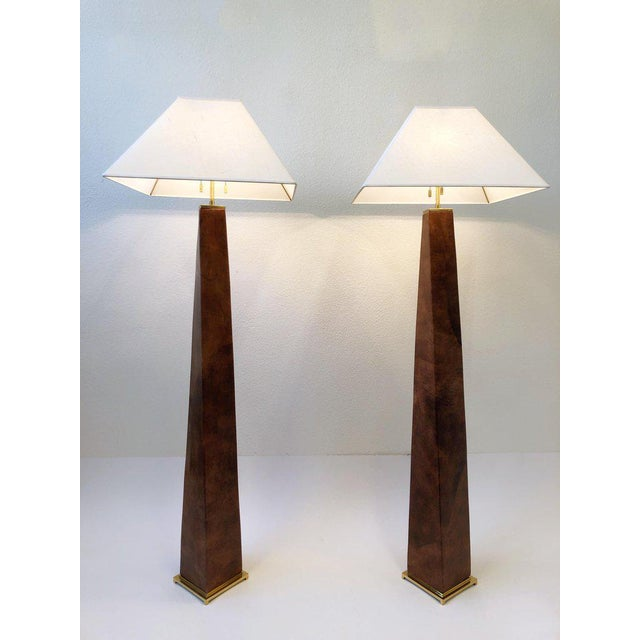 1980s Brass and Leather Floor Lamps by Karl Springer - a Pair For Sale In Palm Springs - Image 6 of 10