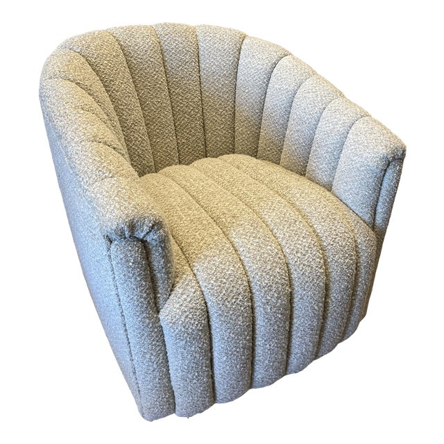 MCM Reupholstered Boucle Channel Tufted Swivel Chair For Sale