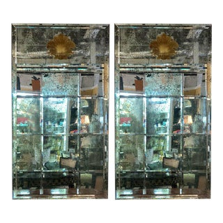 Pair of Art Deco Beveled Console or Wall Mirrors With Engraved Gilt Shell Motif For Sale