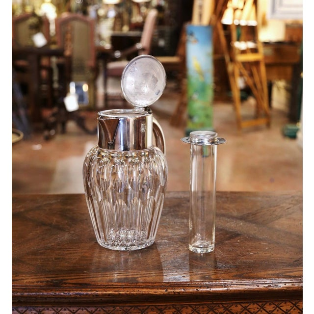 French Midcentury French Cut-Glass and Silvered Brass Pitcher With Ice Holder Insert For Sale - Image 3 of 10