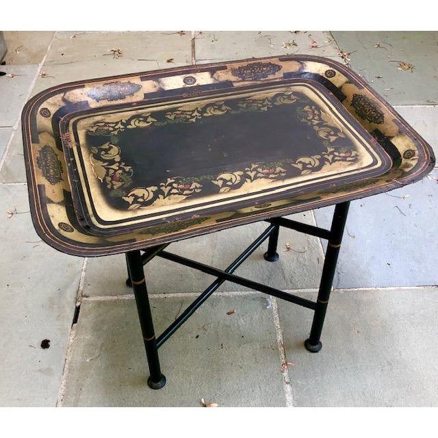 19th Century Early American Stenciled Tole Tray Table For Sale - Image 11 of 11