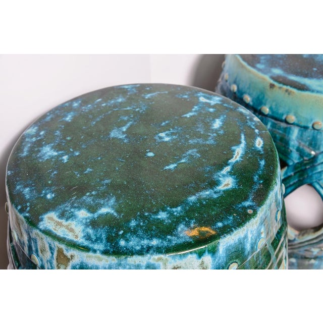 Chinese Old Large Green & Blue Glazed Terra Cotta Barrel Shape Garden Stool, A-Pair For Sale - Image 4 of 12