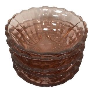 "1950s Fostoria ""Captiva"" Vintage Pink Shell Berry Bowls - Set of 5 For Sale"