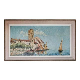 St Tropez Oil Painting by Klemczsnski For Sale