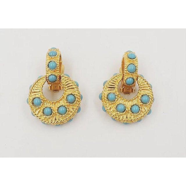 Mimi DI N Cabochon Faux-Turquoise Hoop Earrings For Sale In Philadelphia - Image 6 of 8
