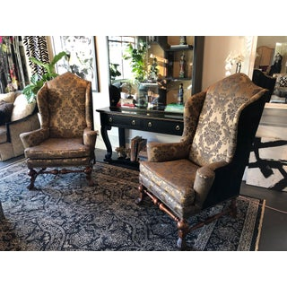 1990s Vintage Baker Furniture Stately Homes Collection Wingback Chairs- a Pair Preview