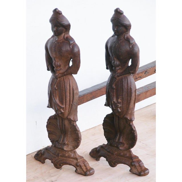 Vintage Cast Iron Lady Fireplace Andirons - Pair For Sale - Image 11 of 11
