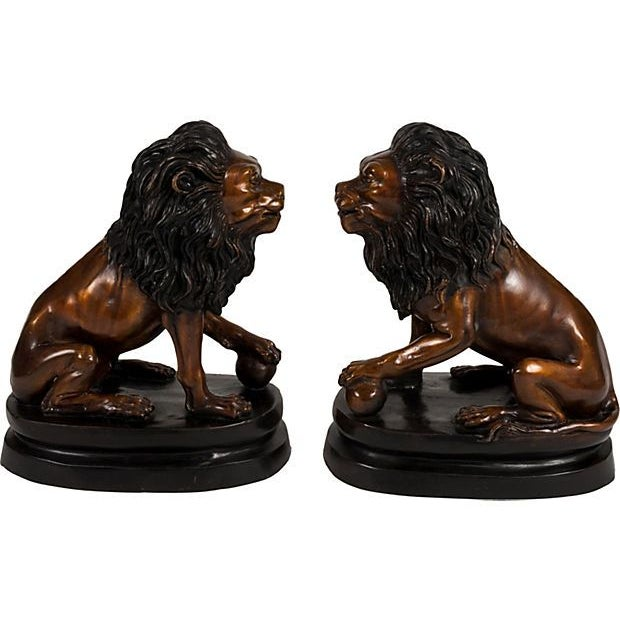 Bronze Lion Bookends - A Pair For Sale - Image 4 of 4