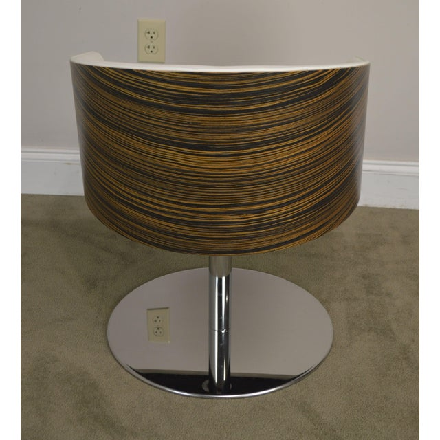 White Leather & Zebra Wood Barrel Back Pair Chrome Pedestal Swivel Lounge Chairs by Cape (F) For Sale In Philadelphia - Image 6 of 13