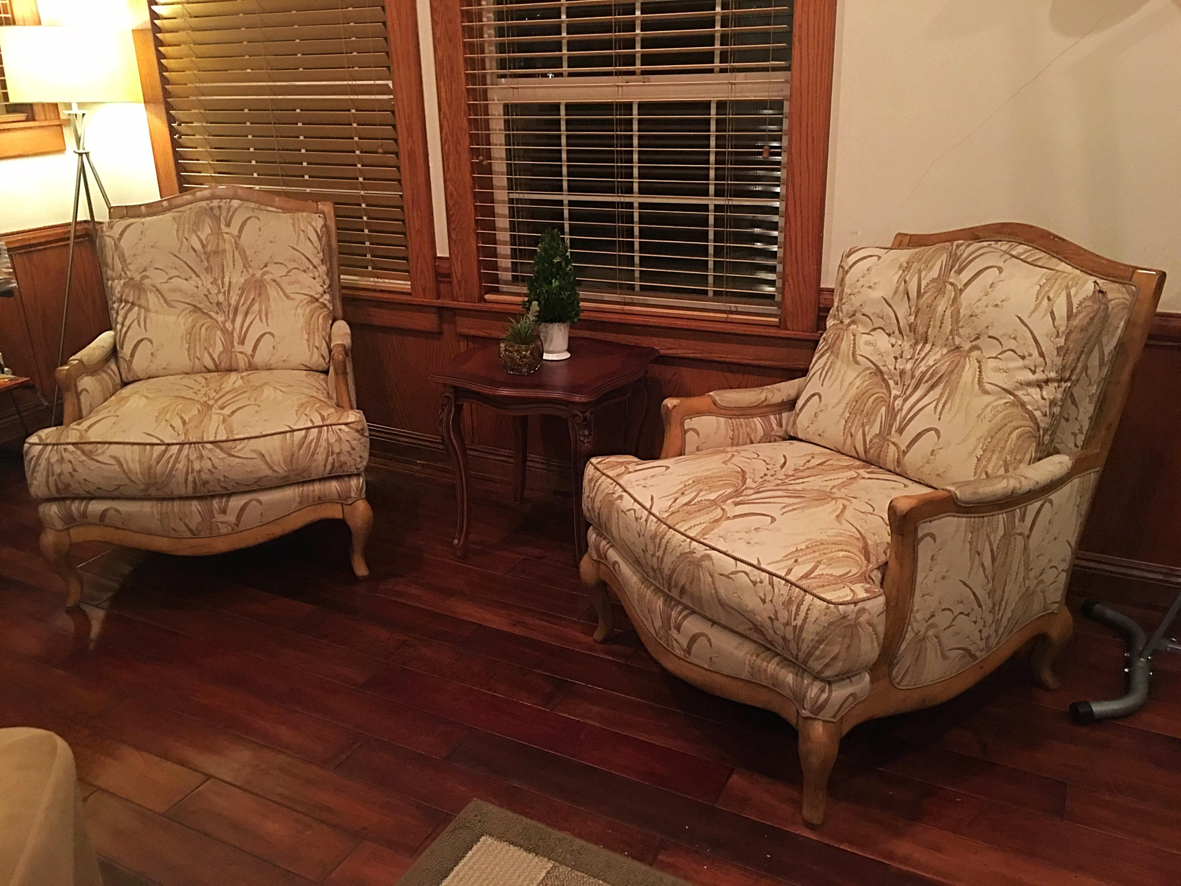 Crafted Swaim Wood Fabric Down Filled Club Chairs - A Pair - Image 7 of 7  sc 1 st  Chairish & Crafted Swaim Wood Fabric Down Filled Club Chairs - A Pair | Chairish