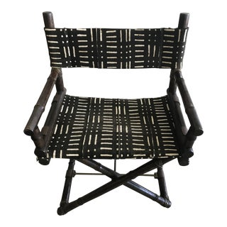 1950's Vintage McGuire Bamboo & Brass & Mud Cloth Textile Director's Chair For Sale