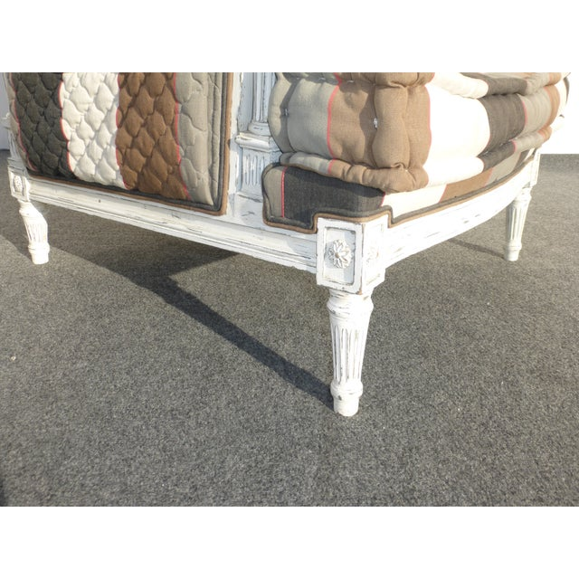 French Provincial Striped Upholstery Arm Chair - Image 11 of 11